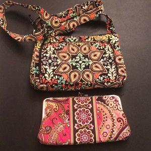 Vera Bradley crossbody bag and kiss lock wallet